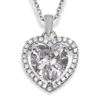 Silver Enchantment™ Cubic Zirconia Heart Pendant Necklace