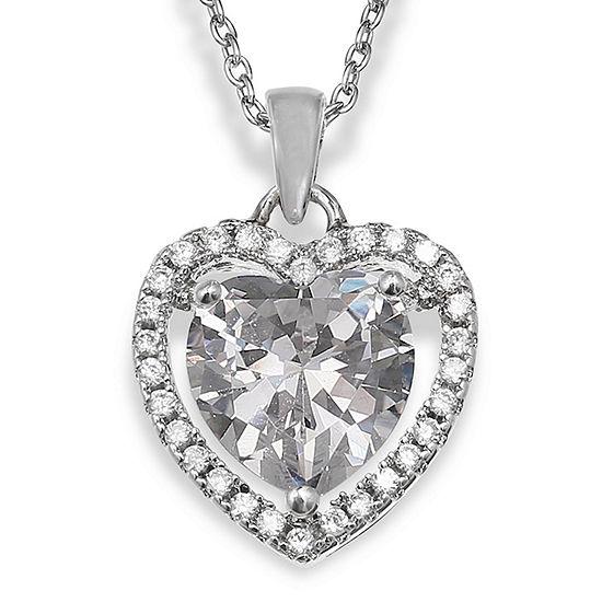 Silver Enchantment™ Cubic Zirconia Heart Pendant Necklace