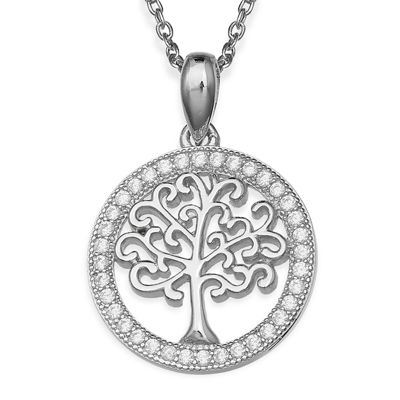 Silver Enchantment™ Cubic Zirconia Family Tree Pendant Necklace