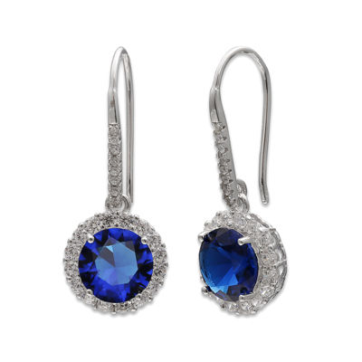 Silver Enchantment™ Blue and White Cubic Zirconia Drop Earrings