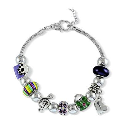 Dazzling Designs™ Multicolor Bead Silver-Plated Bracelet