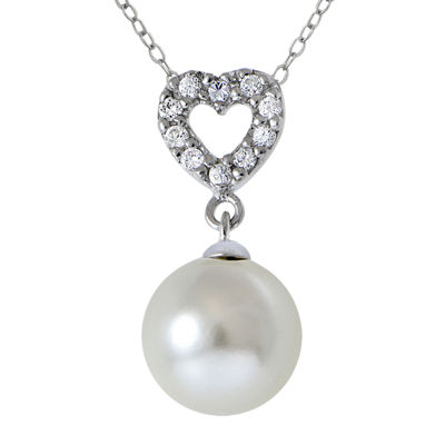 Cubic Zirconia and Simulated Pearl Silver-Plated Heart Pendant Necklace