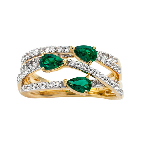 Lab-Created Emerald & Lab-Created White Sapphire 14K Gold Over Silver Criss-Cross Ring