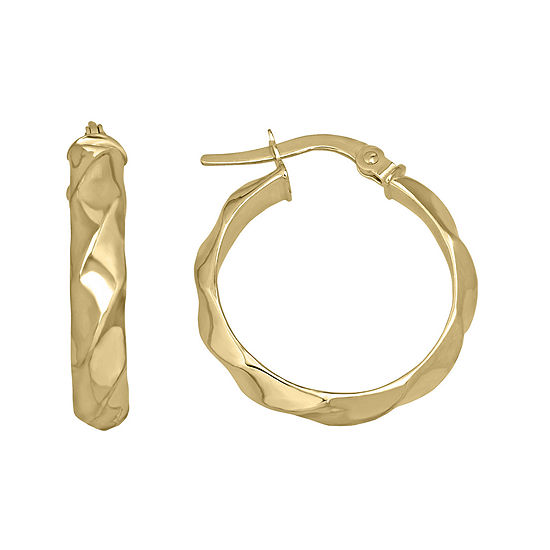 Made In Italy 14k Yellow Gold 2155mm Ridged Hoop Earrings