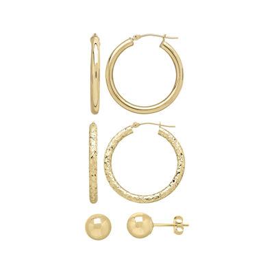 3 Piece 10K Gold  Earring Set