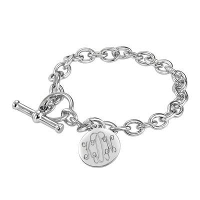 Personalized Sterling Silver Round Monogram Charm Bracelet
