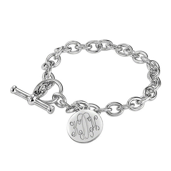 Personalized Sterling Silver Round Monogram Charm Bracelet