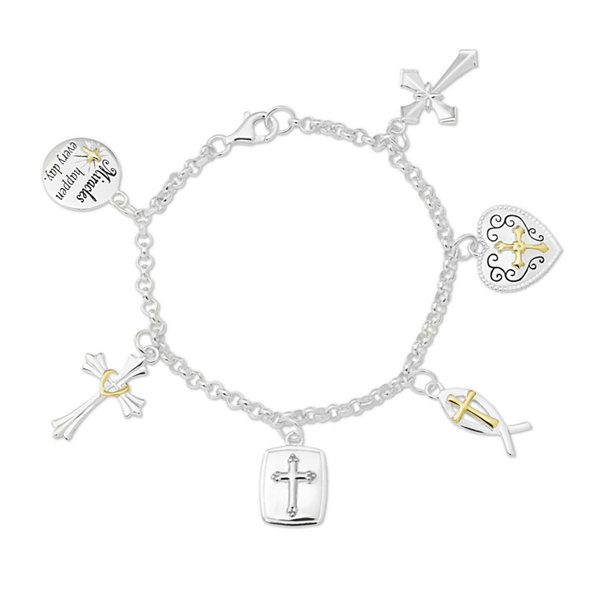 Two-Tone Sterling Silver Faith Charm Bracelet