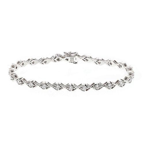 DiamonArt® Cubic Zirconia Sterling Silver X Bracelet