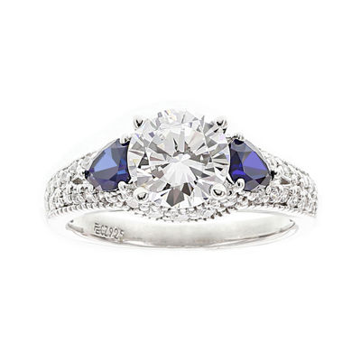 DiamonArt® Cubic Zirconia and Lab-Created Blue Sapphire Ring