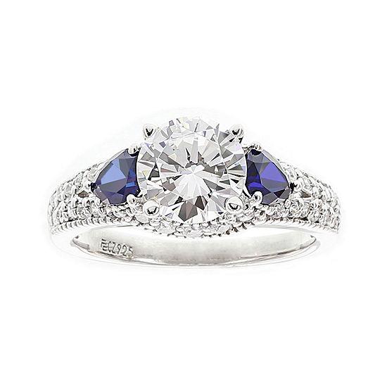 Diamonart Cubic Zirconia And Lab Created Blue Sapphire Ring