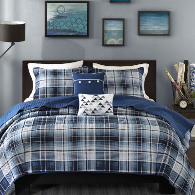 Intelligent Design Dexter Plaid Coverlet Set