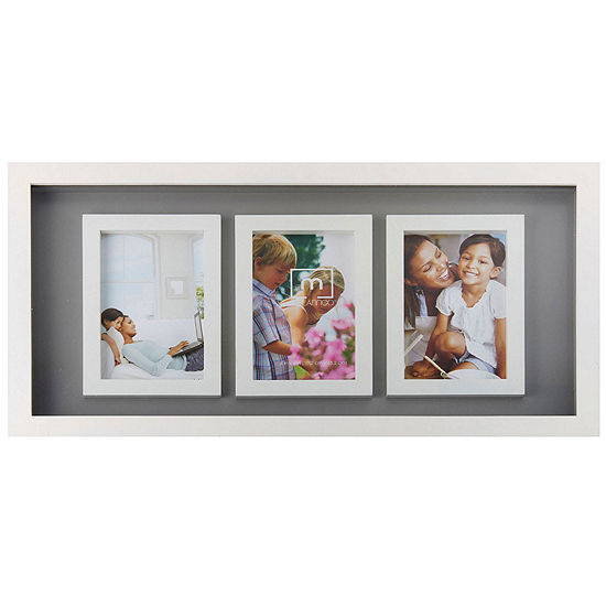 "White and Gray 3-Opening 4x6"" Collage Picture Frame"