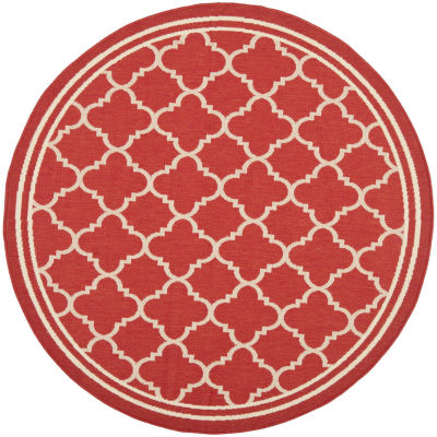 Safavieh Courtyard Collection Crispian Geometric Indoor/Outdoor Round Area Rug