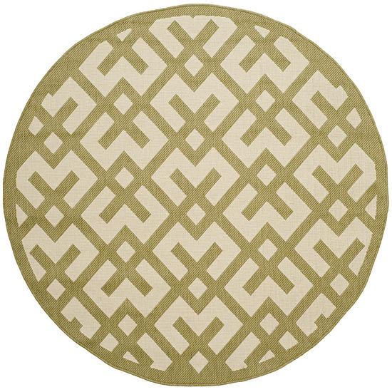 Safavieh Courtyard Collection Darrin Geometric Indoor/Outdoor Round Area Rug