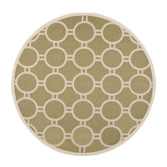 Safavieh Courtyard Collection Shag Geometric Indoor/Outdoor Round Area Rug