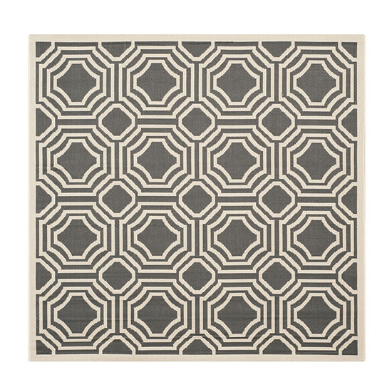 Safavieh Courtyard Collection Torma Geometric Indoor/Outdoor Square Area Rug