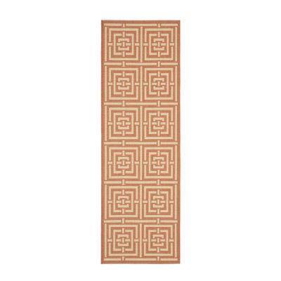 Safavieh Courtyard Collection Varvara Geometric Indoor/Outdoor Runner Rug
