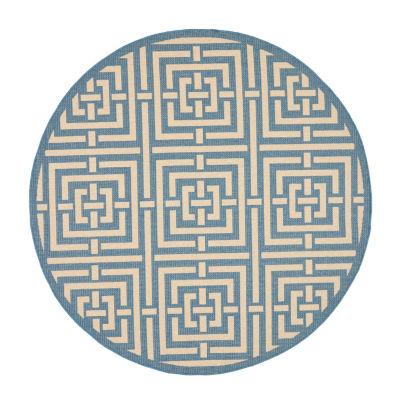 Safavieh Courtyard Collection Varvara Geometric Indoor/Outdoor Round Area Rug
