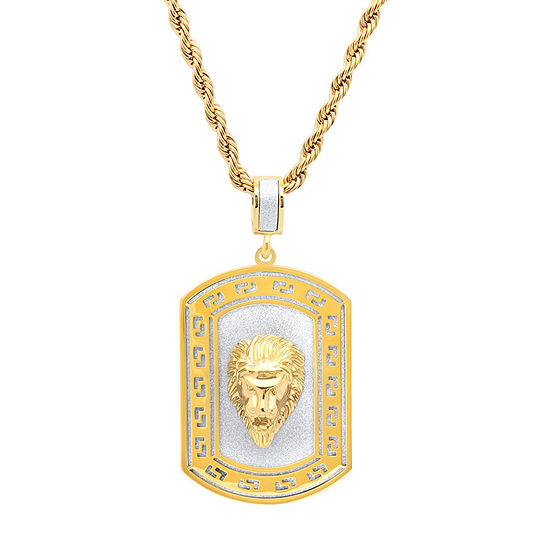 Mens 18K Gold over Stainless Steel Pendant Necklace