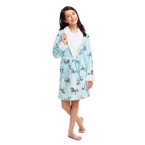Jellifish Kids Embossed Little Girls Fleece Long Sleeve Mid Length Robe