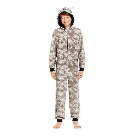 Jelli Fish Kids Little & Big Boys Fleece Long Sleeve One Piece Pajama, X-small , Gray
