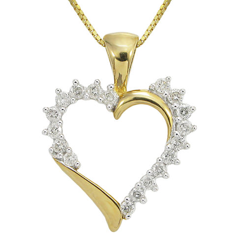 ¼ CT. T.W. Diamond Heart Pendant Necklace
