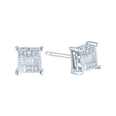 ¼ CT. T.W. Princess Diamond Stud Earrings