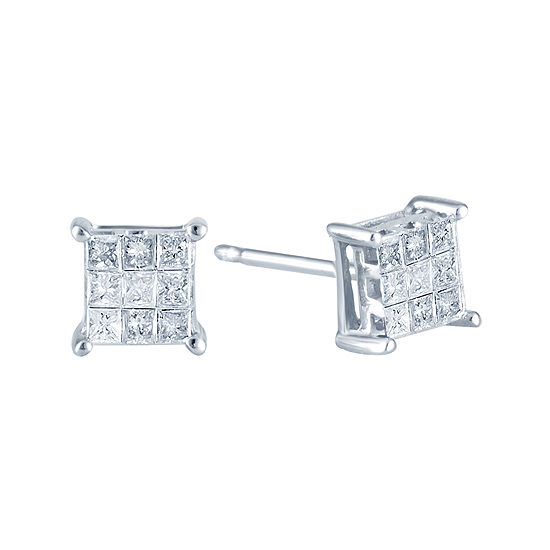 Ct Tw Princess Diamond Stud Earrings