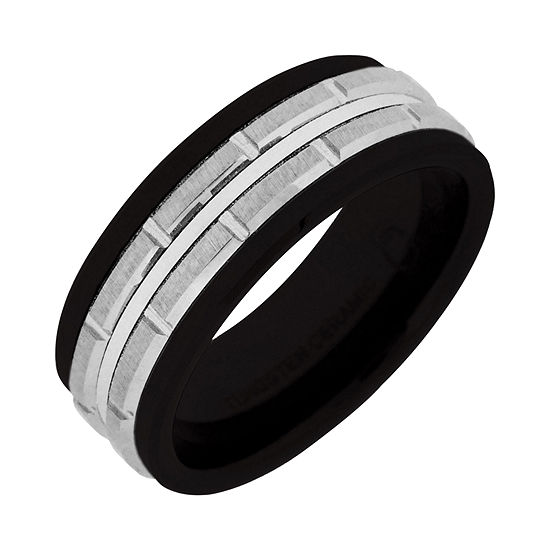 Men's Black Ceramic & Stainless Steel Brick-Pattern Wedding Band