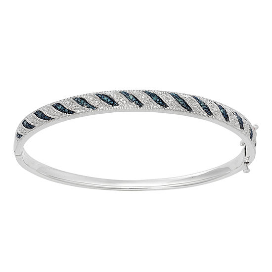 White & Color-Enhanced Blue Diamond-Accent Striped Bangle