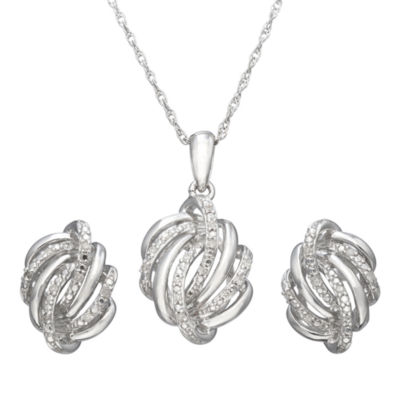 1/10 CT. T.W. Diamond Love Knot Boxed Jewelry Set