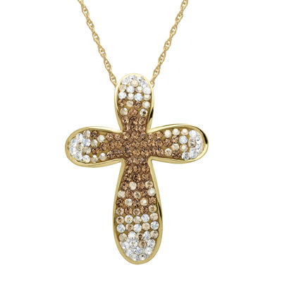 14K Gold Over Silver Fade Crystal Cross Pendant Necklace