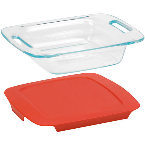 """Pyrex® Easy Grab 8"""" Square Baking Dish with Red Plastic Cover"""