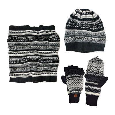 MUK LUKS® 3-pc. Fairisle Slouch Beanie, Scarf and Flip Gloves Set