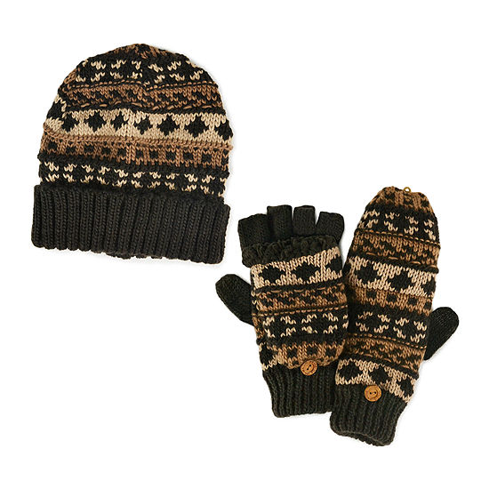 MUK LUKS® 2-pc. Chunky Fair Isle Beanie and Flip Gloves Set