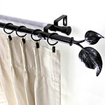 "Rod Desyne Double 13/16"" Adjustable Curtain Rod with Ivy Finials"