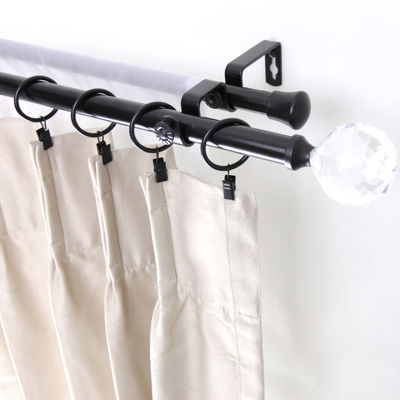 "Rod Desyne Double 13/16"" Adjustable Curtain Rod with Faceted Finials"