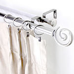 "Rod Desyne Double 13/16"" Adjustable Curtain Rod with Spiral Finials"