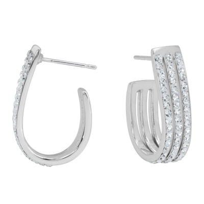 Sparkle Allure Clear Brass Hoop Earrings