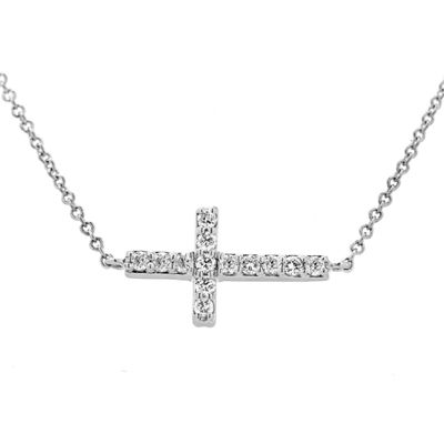 Womens 1/3 CT. T.W. Genuine White Diamond 14K Gold Cross Pendant Necklace