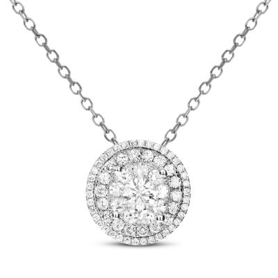 Womens 1 CT. T.W. Genuine White Diamond 14K Gold Round Pendant Necklace