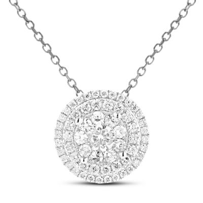 Womens 1 1/2 CT. T.W. Genuine White Diamond 14K Gold Round Pendant Necklace