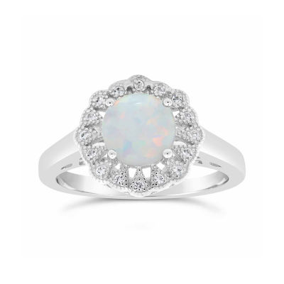 Womens Lab Created White Opal Sterling Silver Flower Cocktail Ring