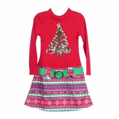 Lilt Long Sleeve Drop Waist Dress - Preschool Girls