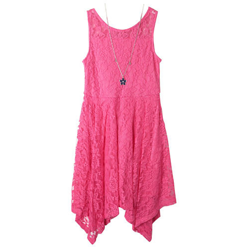 Zunie Sleeveless Skater Dress With Necklace- Big Kid Girls