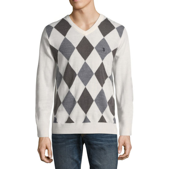 U.S. Polo Assn. Long Sleeve V-Neck Argyle Sweater