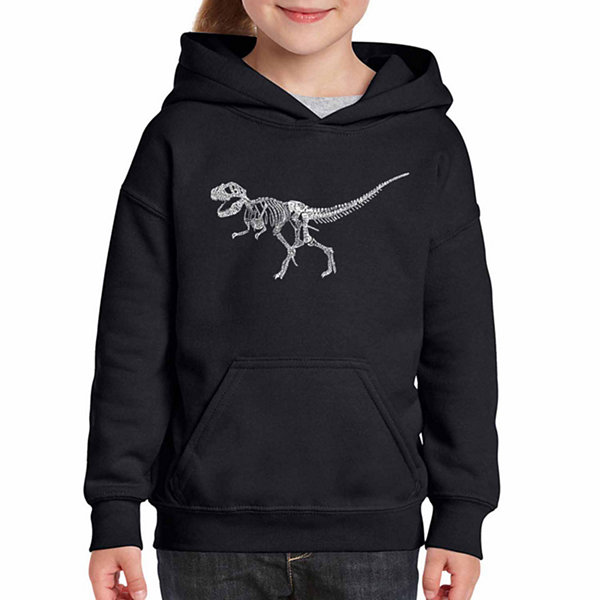 Los Angeles Pop Art Dinosaur T-Rex Skeleton Long Sleeve Girls Word Art Hoodie