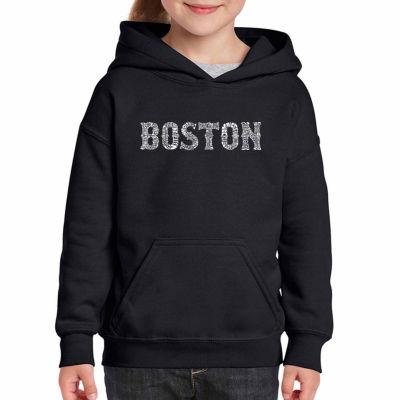 Los Angeles Pop Art Boston Neighborhoods Long Sleeve Sweatshirt Girls