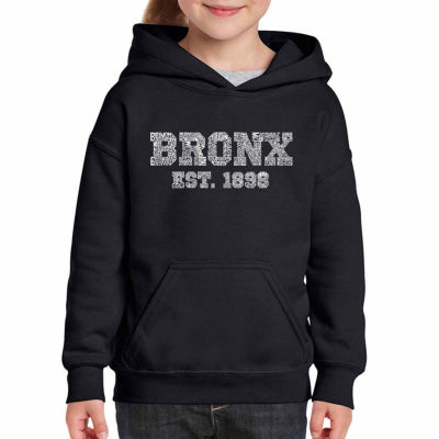Los Angeles Pop Art Popular Neighborhoods In Bronx; Ny Long Sleeve Girls Word Art Hoodie